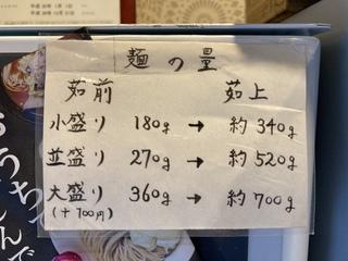 つけ麺 五ノ神製作所 麺の量