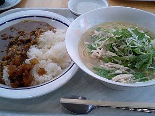 東大 柏キャンパス さっぱり水菜とささみ塩ラーメン+ビーフカレー.JPG